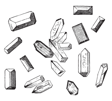 ammonium: Forms of crystals of the magnesium ammonium phosphate, vintage engraved illustration.