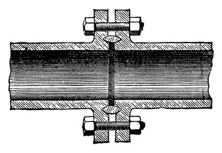 gasket: A metal gasket, vintage engraved illustration. Industrial encyclopedia E.-O. Lami - 1875.