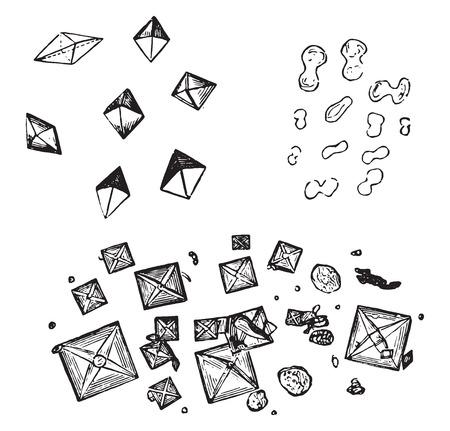 rhombic: Oxalate of lime, vintage engraved illustration.