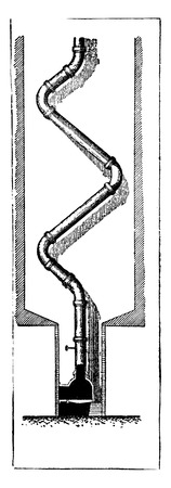 call history: Section of the chimney call by ventilation, vintage engraved illustration. Industrial encyclopedia E.-O. Lami - 1875. Illustration