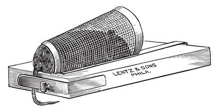 apparatus: Apparatus for holding a mouse or rat for inoculation, vintage engraved illustration.