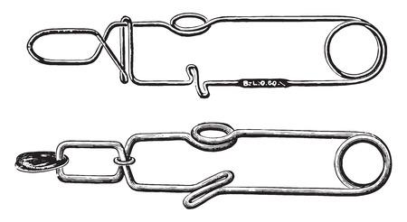 Two forms of forceps, vintage engraved illustration. Illustration