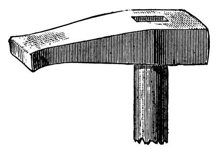 structure metal: Hammer swaging, vintage engraved illustration. Industrial encyclopedia E.-O. Lami - 1875.