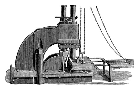 Swaging three hydraulic pistons workshops Newcastle upon Tyne, vintage engraved illustration. Industrial encyclopedia E.-O. Lami - 1875.
