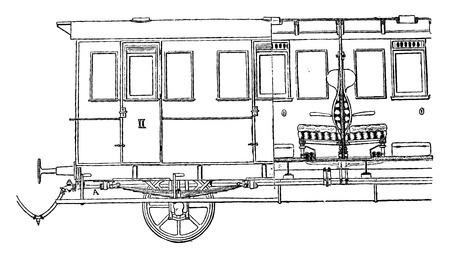 black train: Steam heating (East Bavarian), vintage engraved illustration. Industrial encyclopedia E.-O. Lami - 1875.
