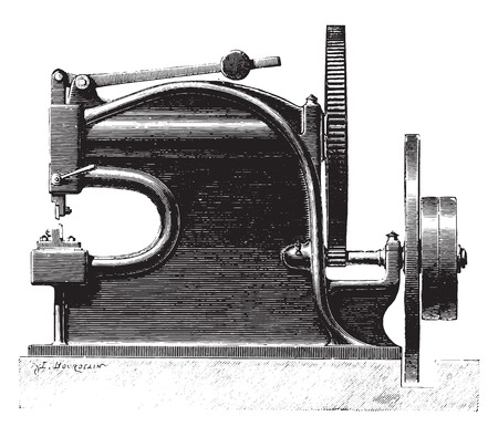 Mechanically operated shears, vintage engraved illustration. Industrial encyclopedia E.-O. Lami - 1875. Çizim