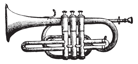 music instruments: Cornet piston, vintage engraved illustration. Industrial encyclopedia E.-O. Lami - 1875.