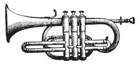 Cornet piston, vintage engraved illustration. Industrial encyclopedia E.-O. Lami - 1875.