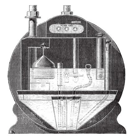 saturation: Meter saturation tarpaulin, vintage engraved illustration. Industrial encyclopedia E.-O. Lami - 1875.