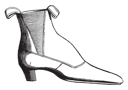 on elastic: Ankle boot with elastic, vintage engraved illustration. Industrial encyclopedia E.-O. Lami - 1875.