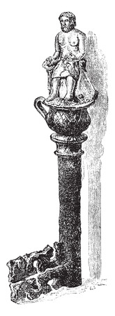 discovery: Antique key discovery around Tarare, vintage engraved illustration. Industrial encyclopedia E.-O. Lami - 1875.