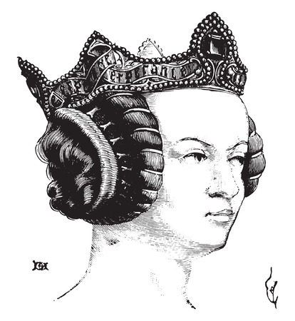 Hairstyle of a noble lady under Charles V, vintage engraved illustration. Industrial encyclopedia E.-O. Lami - 1875.