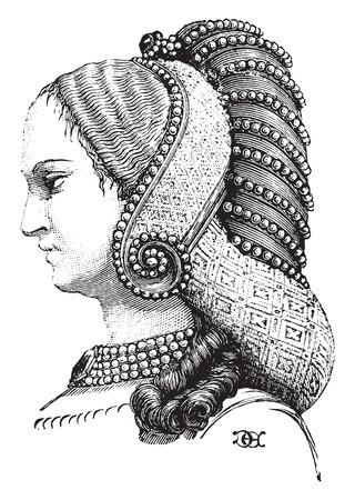 이전 헤어 스타일, 빈티지 새겨진 일러스트 레이션의 프로필. 산업 백과 사전 E.-O. 라미 - 1875.