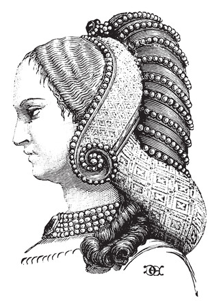 coif: Profile of the previous hairstyle, vintage engraved illustration. Industrial encyclopedia E.-O. Lami - 1875. Illustration