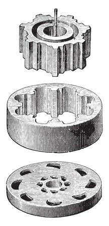 Crown-Meter details, crown and pinion dispensing valve disk format, vintage engraved illustration. Industrial encyclopedia E.-O. Lami - 1875.