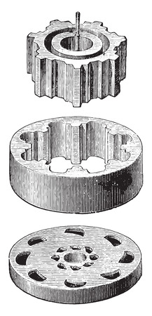 dispensing: Crown-Meter details, crown and pinion dispensing valve disk format, vintage engraved illustration. Industrial encyclopedia E.-O. Lami - 1875.