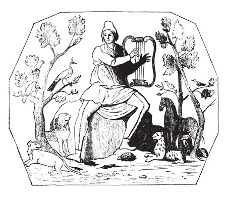symbolic: Symbolic painting of Rome Catacombs Domitilla found in the cemetery, vintage engraved illustration. Industrial encyclopedia E.-O. Lami - 1875.
