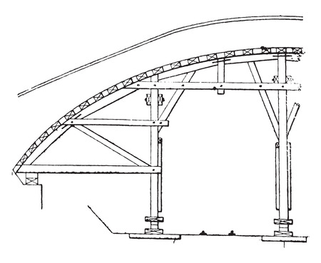 Hanger arch vault with through service, vintage engraved illustration. Industrial encyclopedia E.-O. Lami - 1875.