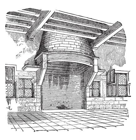 Chimney of a house of Cluny, vintage engraved illustration. Industrial encyclopedia E.-O. Lami - 1875. Illustration