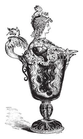 Ewer helmeted the Louvre, vintage engraved illustration. Industrial encyclopedia E.-O. Lami - 1875. Illustration