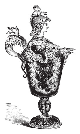 ewer: Ewer helmeted the Louvre, vintage engraved illustration. Industrial encyclopedia E.-O. Lami - 1875. Illustration