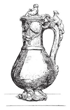 chased: Vase flower jasper mounted chased gold, vintage engraved illustration. Industrial encyclopedia E.-O. Lami - 1875. Illustration