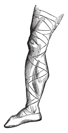 beginnings: Shoe of a Frankish warrior at the beginning of the sixth century, vintage engraved illustration. Industrial encyclopedia E.-O. Lami - 1875. Illustration