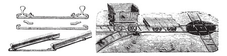 sleeper: Fig No- 170- Installation view of the way, Rails and sleepers, Paupier system, Fig No- 171 Vagonnet and hub, vintage engraved illustration. Industrial encyclopedia E.-O. Lami - 1875. Illustration