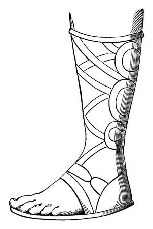 etruscan: Etruscan boot, vintage engraved illustration. Industrial encyclopedia E.-O. Lami - 1875.