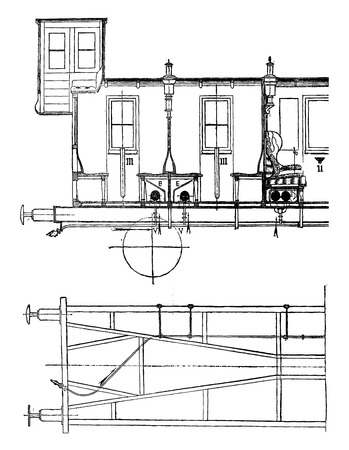Steam heating (East Prussian), vintage engraved illustration. Industrial encyclopedia E.-O. Lami - 1875.
