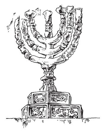 hebrews: Chandelier has seven branches of Hebrews, vintage engraved illustration. Industrial encyclopedia E.-O. Lami - 1875.