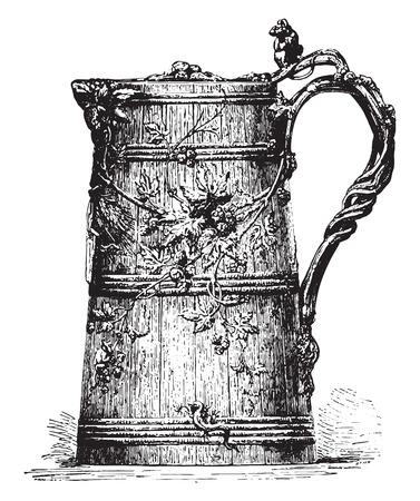 illustration: Pot Beer engraved silver, vintage engraved illustration. Industrial encyclopedia E.-O. Lami - 1875. Illustration