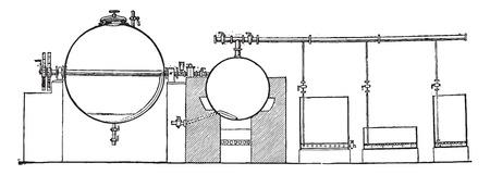 apparatus: Apparatus for the manufacture of bone glue, vintage engraved illustration. Industrial encyclopedia E.-O. Lami - 1875.