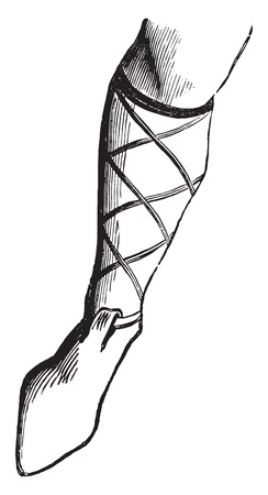 art of eight limbs: Shoe a nobleman in the eighth century, vintage engraved illustration. Industrial encyclopedia E.-O. Lami - 1875. Illustration