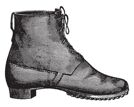 passed: Prescription shoe for the foot soldier passed, vintage engraved illustration. Industrial encyclopedia E.-O. Lami - 1875. Illustration