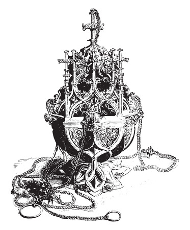earthenware: Censer, vintage engraved illustration. Industrial encyclopedia E.-O. Lami - 1875.