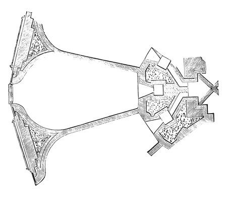 Furnace Eaton sectional plan, vintage engraved illustration. Industrial encyclopedia E.-O. Lami - 1875. Ilustração