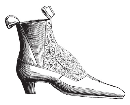 on elastic: Ankle boot low elastic silk, vintage engraved illustration. Industrial encyclopedia E.-O. Lami - 1875.