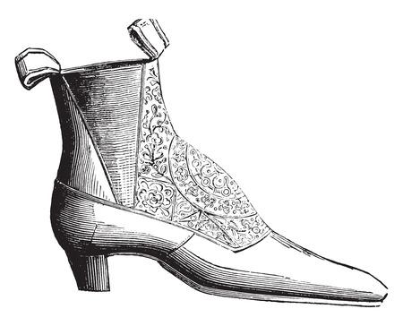 Ankle boot low elastic silk, vintage engraved illustration. Industrial encyclopedia E.-O. Lami - 1875.