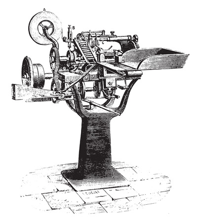 Machine sigaretten, vintage gegraveerde illustratie. Industriële encyclopedie E.-O. Lami - 1875.