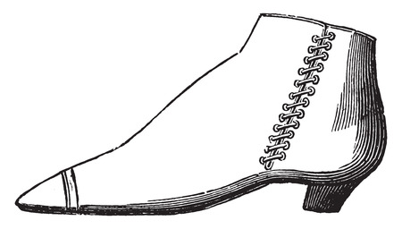 Boot lace in expanded, butt leather, vintage engraved illustration. Industrial encyclopedia E.-O. Lami - 1875.