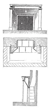 elevation: Elevation, plan and section, vintage engraved illustration. Industrial encyclopedia E.-O. Lami - 1875. Illustration