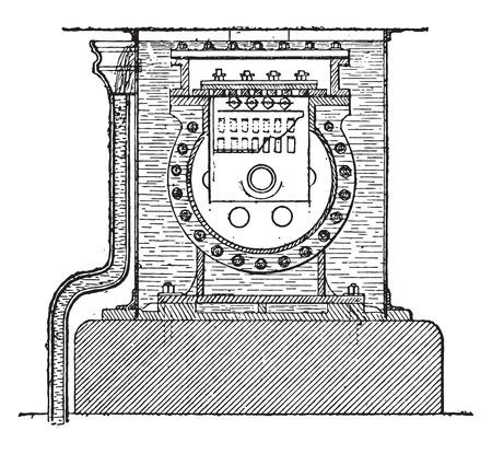End view of the compressor cylinder, vintage engraved illustration. Industrial encyclopedia E.-O. Lami - 1875.