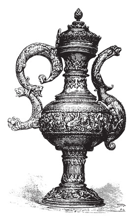 spout: Ewer, vintage engraved illustration. Industrial encyclopedia E.-O. Lami - 1875.