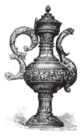 ewer: Ewer, vintage engraved illustration. Industrial encyclopedia E.-O. Lami - 1875.