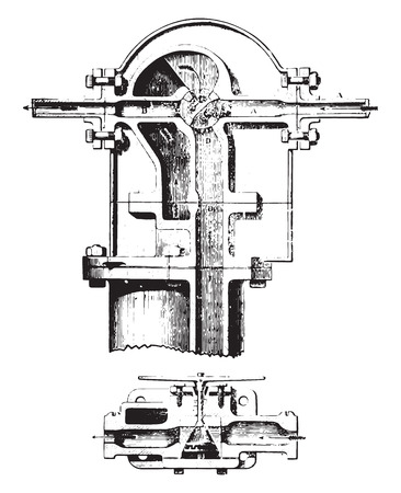 Water meter, Kennedy system; section along the axis of the water distribution pipe, vintage engraved illustration. Industrial encyclopedia E.-O. Lami - 1875. Ilustração