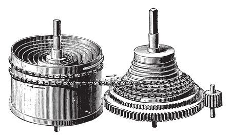 Mainspring barrel and stopwatch rocket, vintage engraved illustration. Industrial encyclopedia E.-O. Lami - 1875. Illustration