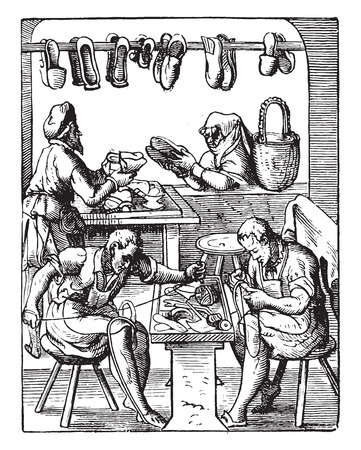 cobbler: Shoemaking workshop, vintage engraved illustration. Industrial encyclopedia E.-O. Lami - 1875.