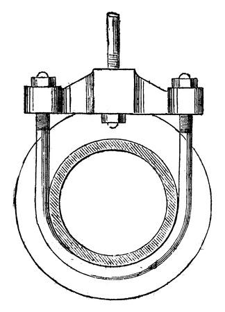 elevation: Bracket for suspension steam pipes in elevation, vintage engraved illustration. Industrial encyclopedia E.-O. Lami - 1875.