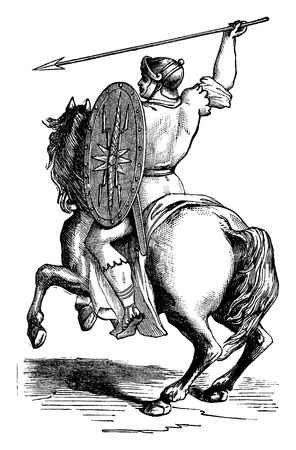 riding boot: Roman rider shoes of Caliga clavata, vintage engraved illustration. Industrial encyclopedia E.-O. Lami - 1875.